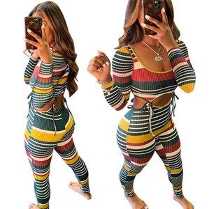 여성 운동복 두 조각 세트 디자이너 섹시한 컬러 스트라이프 스레드 긴 소매 T 셔츠 바지 의상 스트리트 패션 스포츠 의류 C17