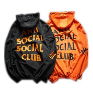 Men marca Escudo Protector solar Ropa casual para hombre chaqueta de las chaquetas con Tops impresa letra de la solapa de la capucha Negro rompevientos Streetwear S-XXL