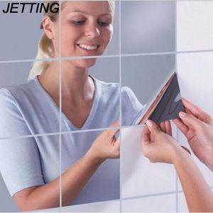 Обои Jetting 9PCS Прибытие Высокое Качество Квадратный Зеркальный Плитка 3D Наклейка Домашняя Комната Украшения DIY Для Живого крыльца