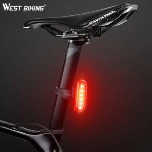 WEST BIKING Bike Tail Light Night Cycling Brake Intelligent Induction Lights USB Rechargable Road Mountain Bike Warning Light KzMW#