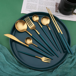 4PCS Stainless Steel Knife Fork Spoon Chopsticks Cutlery Sets Outdoor Camping Picnic Dinnerware Flatware Set Party Tableware Kits DBC BH4097