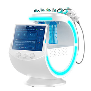 Son Stil Buz Mavi Ultrasonik RF Aqua Cilt Scrubber Anti Kırışıklık Hydraoxygen Dermabrazyon Yüz Cilt Analizörleyici Temizleme