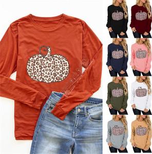 Los diseñadores de Halloween Patrón mujeres sudaderas con capucha calabaza Leopard Impreso de invierno con capucha ocasional otoño D9712 remiendo Mujer Ropa