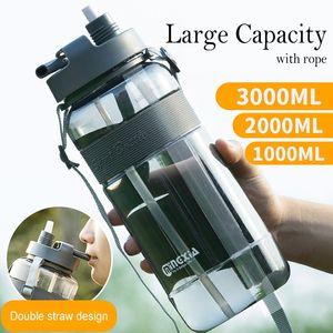 Cheapest Bottiglia 0.7L 1L 2L 3L Grande Capcaity Unisexy Outdoor Ciclismo Predellino Palestra BPA plastica spazio sport acquatico