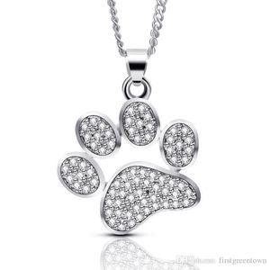 Creative Jewelry Pet Dog Cute Feet Full Diamond Footwear Pendant Necklace Wholesale Copper Pendant Necklace