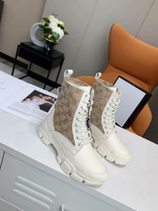 Gucci Ботинки женщин способа платформы вскользь Flats толстой подошве из натуральной кожи Обувь Полное свадебное платье высокого Версия голеностопного Размер 35-40