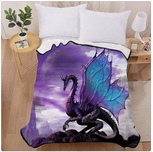 Purple Dragon Heart Home Decoration Printing Velvet Plush Throw Blanket Comfort Design Fleece Blanket