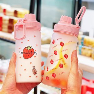 Kawaii Strawberry Milk Water Bottle With Straw Portable Leakproof Transparent Glass Cup Fashion Lovely Drinking Water Bottles T200911