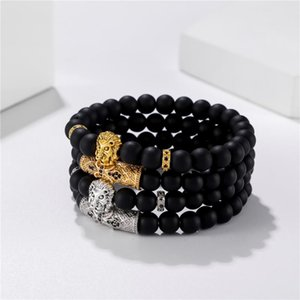 2020 New 2pcs set CZ King Lion Bracelet Men Charm Braclet black matte Stone Bead Bracelets For Mens Hand Jewelry