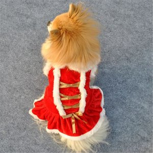 Haustier-Welpen Red Christmas Dog Dress Kleidung Sankt Doggy Kostüme Kleidung warme Haustier-Kleidung Winter-Herbst-Kostüm-Mädchen Hunde-Bekleidung