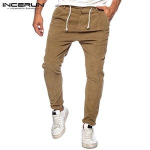 Mens Retro Corduroy Pants Tempo libero Solid coulisse Pantaloni Primavera Autunno allentato rigonfio casuale Pantaloni Streetwear S-5XL