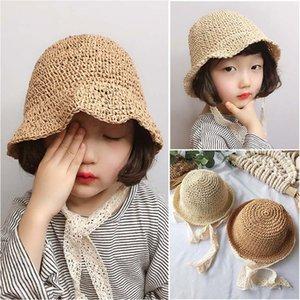 Handmade bambini cappello di paglia del bambino di estate del merletto delle ragazze antivento Beach Sun Cappello floscio Bonnet Cappelli all'ingrosso