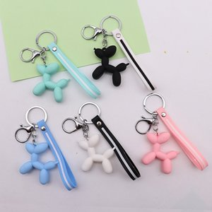 New Fashion Cute 3D Balloon Dog Keychain Key Ring Lovely Cartoon PVC Creative Car Bag Phone Pendant Key chains Gifts for Girl