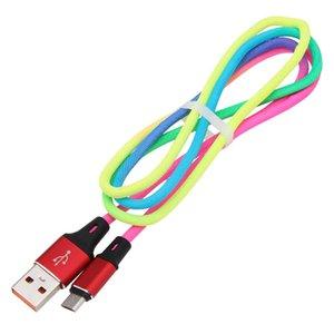 빠른 고품질 레인보우 데이터 케이블의 경우 안드로이드 전화 유형 C 삼성 S8 S9 S10 주 9 주 8 2A 충전 다채로운 1m / 3피트의 USB 케이블을 cgjxs