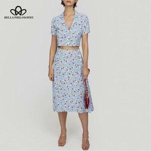 HSTAR 2020 nuevas mujeres de la impresión floral blusa corta Mujer de vacaciones con cuello en V damas elegantes camisas de verano blusa falda conjunto