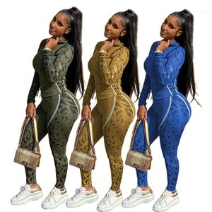 2PCS Sets Split Joint Slim Womens Designer Tracksuits Fashion Long Sleeve Hooded Cap Camouflage Casual Womens