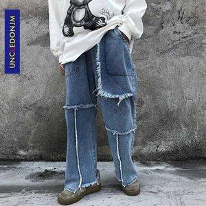 UNCLEDONJM Burr gerade Jeans der Männer Patchwork Straße lose breite Bein-beiläufige Allgleiches Hosen Jeans zerstört Jeans AN-E058