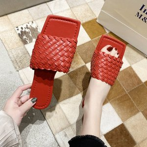 Women Sandals Slides Women Shoes Summer Fashion Weave Leather Flat Slippers Outside Sandals Casual Flip Flops Beach Shoes Womens Loafe ZLQs#