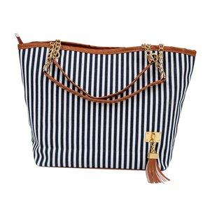 Spalla FGGS-Nuovo disegno della banda delle donne Street Fashion Snap Candid Tote singola tela di canapa della borsa (blu)