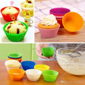 Mold Tray Baking Jumbo Cookie Mould Baking Molds 7cm Silicone Muffin Cake Cupcake Cup Cake Mould Case Bakeware Maker DH0227