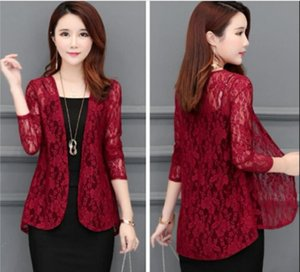 2020 summer cardigan new lace air conditioner cardigan outside short short hollow shawl jacket slim coat 92019