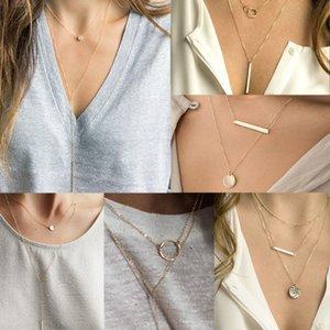Кулон Ожерелья женские геометрические сердечные из нержавеющей стали сплав из нержавеющей стали многослойное ожерелье мода личности простые украшения украшения