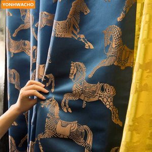 Custom curtains retro Chinese living room bedroom bay window blue Jacquard cloth blackout curtain tulle drape B074