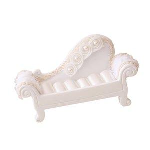 Sofá branco Couch Chair jóias anel Caso Dollhouse móveis em miniatura