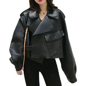 Ailegogo Kadınlar Sahte Deri Ceket Yumuşak Gevşek Vintage Biker Coat Kısa Motorlu PU Siyah Ceket Sonbahar Sokak Deri ceket Cepler
