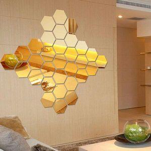 10pcs Hexagonal Acrylic Mirror Wall Sticker Diy Wall Sticker Mirror Life Sticker Gold Art Deco Silver Gold