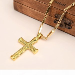 F Men &#039 ;S Women Cross 18 K Solid Gold Gf Charms Lines Pendant Necklace Fashion Christian Jewelry Factory Wholesalecrucifix God Gif