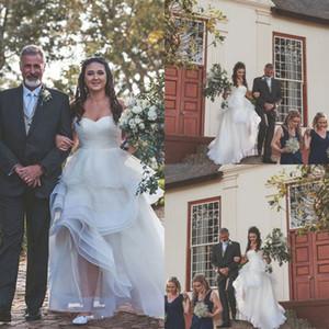 Plus Size A Line Wedding Dresses Boho Garden Simple Sweetheart Tiered Skirt High Low Bridal Gowns 2021 Backless robes de mariée AL7140
