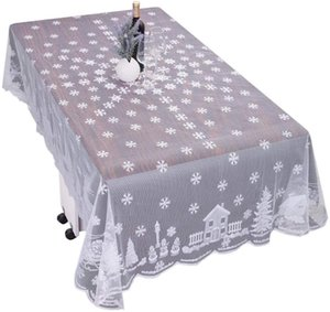 Christmas Lace Tablecloth White Snowflakes Reindeer Santa Claus Elk Table Cloths Cover Table Covers New Year Gift Dropshipping