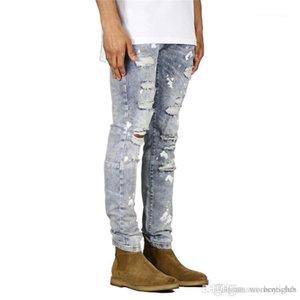 Zipper Mens Pencil Pants Casual Vintage Mens Jeans Males Clothing Holes Mens Designer Jeans Fashion Print