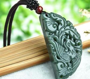 1 Set Оригинальный Jade ожерелье Резные украшения Jade Dragon Phoenix ожерелье любовника Jade44