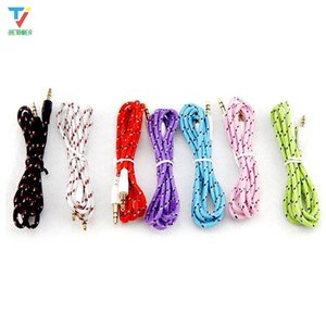 100pcs lot 1M 3FT 3.5mm AUX auxiliary cable male to male Stereo Car Extension Weave audio Cable 7 Colors for MP3 phone
