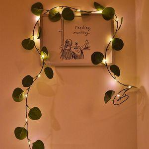 Artificial 2M 10M LED Plants String Light Green Leaf Ivy Vine Fairy Light String Lamp Garland Hanging Lighting