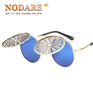 NODARE alta qualidade Steampunk Tire flip Sunglasses Men Brand Design Trending Sun óculos redondos Metal Frame Masculino Partido Eyewear