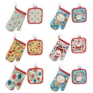 Gants de cuisson de Noël 2pcs / set Décoration de Noël pour la maison de Noël 2020 Ornement Cadeau Nouvel An Cadeau de Noël