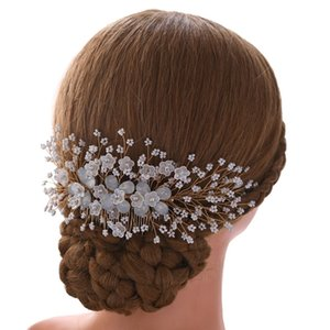 SLBRIDAL New main strass cristal Perles Peigne fleur cheveux de mariée Coiffe Accessoires cheveux Bijoux femmes