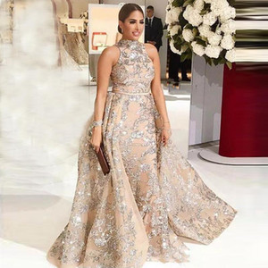 2020 New Sexy Arabic Mermaid Prom Dresses High Neck Sequins Lace Long Sweep Overskirt Detachable Train Party Evening Gowns Vestidos