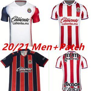 20 21 Chivas de Guadalajara Футбольные трикотажки A. Pulido Lopez Home Red White Alect Прочь 3-й футбол рубашка CamiSetas de Fútbol с коротким рукавом