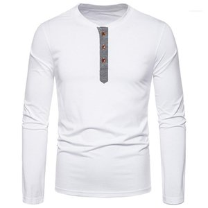 Males Clothing Mens Designer Panelled Botton T-Shirts Fashion Natural Color Long Sleeve T-Shirts Casual Pullover T-Shirts