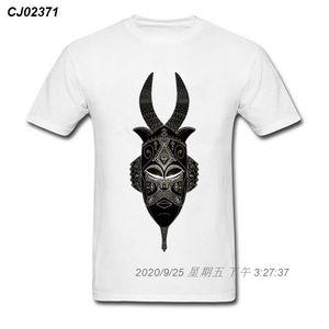 Erkekler O-Boyun Design Plus Boyut Benzersiz% 100 Pamuk Mans Beyaz Tee Gömlek Drop Shipping 2710269 İçin Son boynuzlu Tribal Maske Tişört