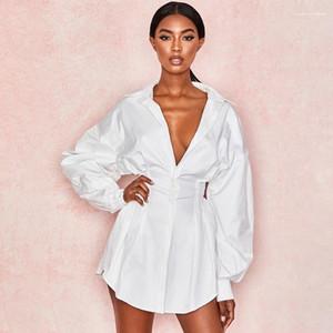 Camisa de los vestidos de la manera delgada casual Mujer Ropa para mujer de lujo de vestir de manga larga de color sólido Mujeres