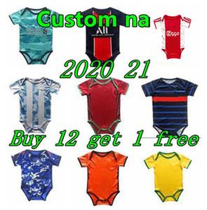 La mejor calidad 2020 21 bebés fútbol Jersey 6 18 meses BB kits para bebé Body fútbol escuadra de arrastre ropa maillot de pie Futbol