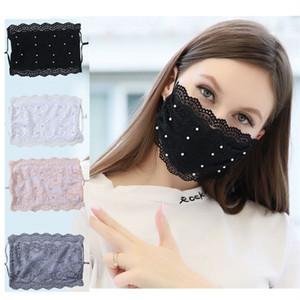 Summer pearl lace mask Protective Mask Reusable Adjustable dust mask breathable Designer masks 4 color T2I51484