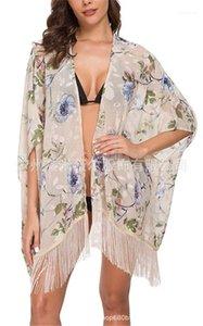 EuropeanAnd American Summer Wind Swimsuits Blouse Sexy Chiffon Women Bikini Blouse Floral Beach Style Bikini Cardigan Cover Ups