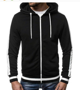 Mens más el tamaño encapuchado de la cremallera de la chaqueta con capucha superior del tamaño M-3XL Moda Zip Up sudadera con capucha color disponible 5 T200914