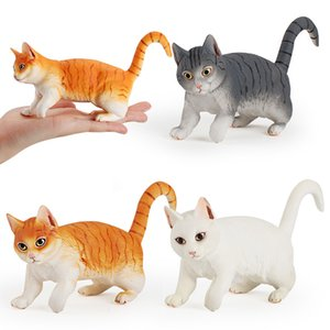 3 sets of simulation solid animal cat model orange cat gray white cat white large wild animal pet ornaments